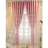 Romantischer Vorhänge Blickdicht und Rosa Stickerei Voile-Deckschicht mit Ösen für Fenster Schlafzimmer Wohnzimmer Küche, 1 Stück, 140 x 175 cm,Rosa