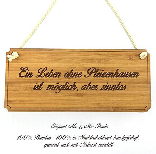 Mr. & Mrs. Panda Türschild Stadt Pleizenhausen Classic Schild - Gravur,Graviert Türschild,Tür Schild,Schild, Fan, Fanartikel, Souvenir, Andenken, Fanclub, Stadt, Mitbringsel