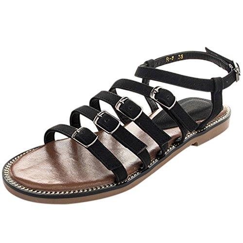 Oasap Women's Vintage Peep Toe Buckle Flat Heels Sandals Khaki