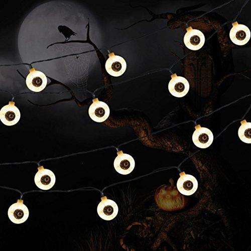 String Light 103/5000 1.2M 10 LED String Lights Ghost Eyes String Lights für Halloween Party Dekor Halloween String Licht (Weiß) (Halloween Ghost Lights)