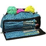 Bolsa de tejer accesorios de costura, manualidades y aguja de almacenamiento organizador caso en estampado imperial color verde azulado