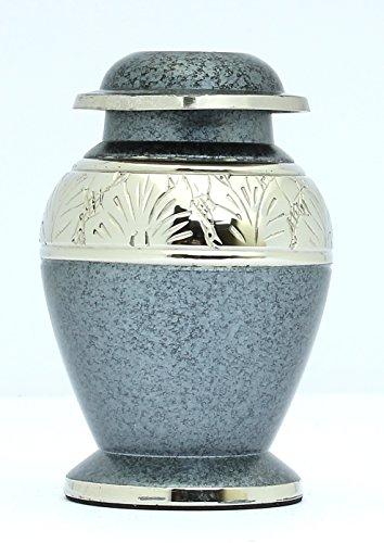 Kleine Andenken-Urne für Asche, Begräbnis, Gedenken, Grau und Silber