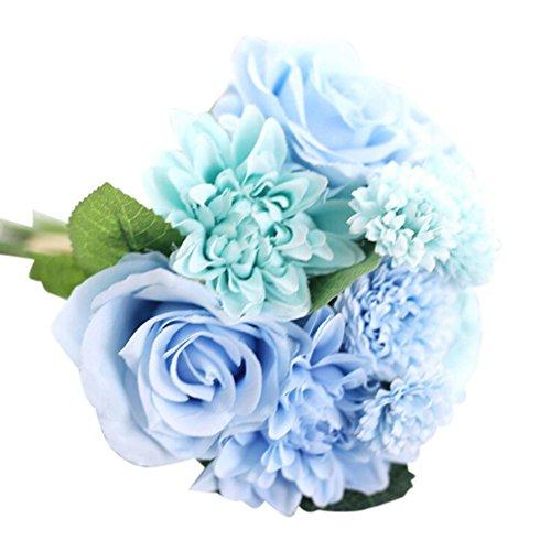 OverDose Kunstseide Fake Flowers Blatt Rose Floral Wedding Bouquet Partei Home Decor Artificial Silk Fake Flowers Leaf Rose Floral Wedding Bouquet Party Home Decor (Blau, 1*Bund) (Partei Für Mittelstücke Die)