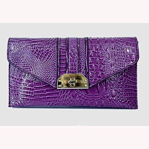 modelli femminili nuovi femminile borsa borsa a mano Europa e in America marea coccodrillo di moda sera pochette Messenger piccola borsa ( Colore : Blu ) Viola