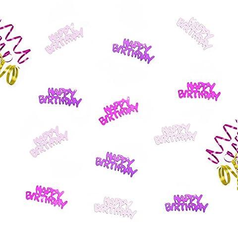 Oblique-Unique® Happy Birthday Geburtstag Tisch Konfetti im Farbmix Pink Lila