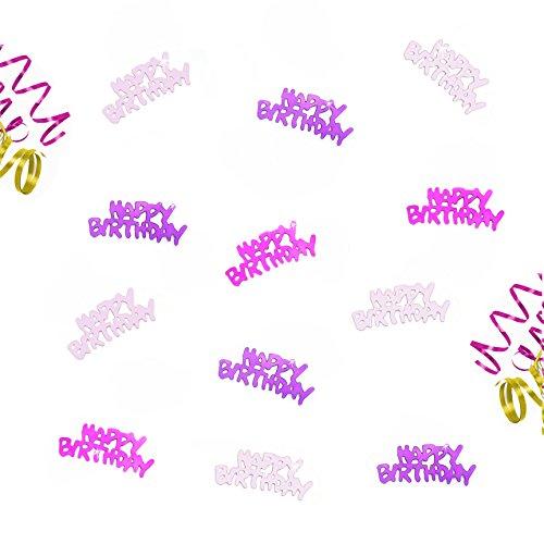 Oblique-Unique Happy Birthday Geburtstag Tisch Konfetti im Farbmix Pink Lila und Rosa - mit Spiegeleffekt - über 150 Stück