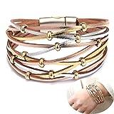 Daimay Wickelarmband Armschmuck Vintage Charm Armband Leder Multilayer Leder Armreif Armkette wit Beads - Silber und Gold
