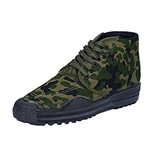 ANDAY Mens Durable Camouflage Work Shoes High-top Outdoor Hiking Sports Trainers Green