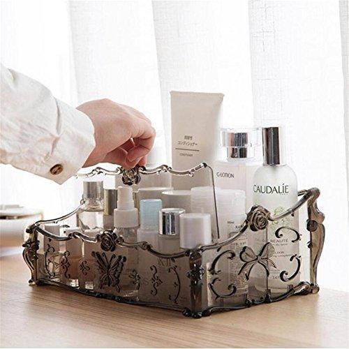 Acryl klar Make-up Kosmetik Organizer Aufbewahrung Ständer Cosmetics Aufbewahrungsbox Make Up Halterung Rack für Kosmetika, Nagellack, Lack, ortsfest, Arts Crafts, Make-up-Pinsel Badezimmer Schreibtisch Zubehör schwarz