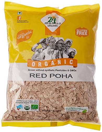 24 Mantra Organic Red Poha (Flattened Rice), 500g