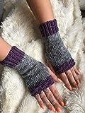 Grey Purple women's fingerless gloves hand warmers