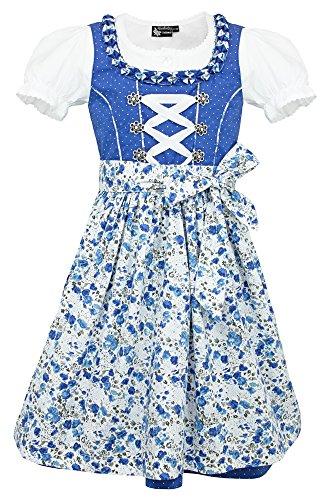 Maddox Kinder Dirndl Zillertal - Blau Flower Gr. -