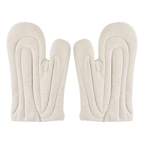 DealMux Bettwäsche Küche Mikrowelle Ofen Hitzebeständigkeit Handschuhe Fäustling Paar Beige Mikrowellen-ofen-fäustlinge