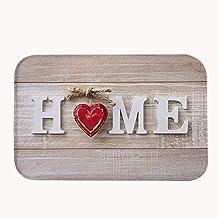 """rioengnakg Sweet Home madera fondo Super absorbente antideslizante alfombra de baño Coral Fleece zona alfombra alfombrilla de puerta entrada alfombra alfombrillas para puertas delantera exterior, 16"""" x 24""""(40 x 60cm)"""