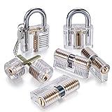 ASEL Lockpicking Übungsschloss Set, transparent Schloss von 7 Arten, Vorhängeschlösser & Schlüssel für Anfänger & Profis, Skill Verbesserung mit Trainingsschlössern für Schlosser