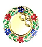 #9: SM Craft Creations Golden Pooja Plate/Thali with 2 Bowls   Rakhi Platter   Engagement Ring Platter   Tilak Thali(Acrylic, 15cm x 15cm)
