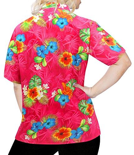 La Leela Entspannt Hawaiihemd Urlaub Blusen Knopf Unten Frauen mit Kurzen Ärmeln Rosa Rosa