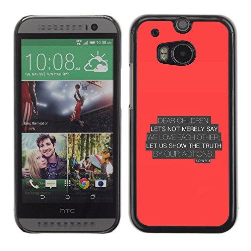 DREAMCASE (NICHT HTC ONE MINI 2) Bibelzitate Bild Hart Handy Schutzhülle Schutz Schale Case Cover Etui für HTC ONE M8 - Lassen Sie uns die Wahrheit von ur-Aktien zeigen - Johannes 3,18