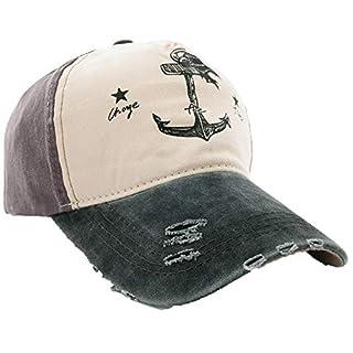 Unisex Baumwolle Baseball Cap Star Sport Mütze Baseballkappe Snap back Trucker MFAZ Morefaz Ltd (C Anchor Beige Nave)
