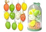 15-teiliges Osterdekorations-Set: 11 Deko-Ostereier zum Hängen + 3 Blüten + Sisal-Dekogras, in Kuppelbox, fröhlich bunte Farben, gelb/orange/grün, Ostern Eier Dekoration Frühling