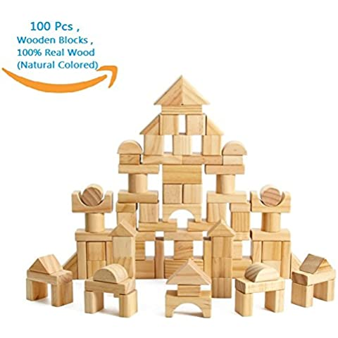 CECII 100 Pcs Wooden Blocks Wood Building Block Set with Carrying Bag - 100% Real Wood(Natural Colored) by