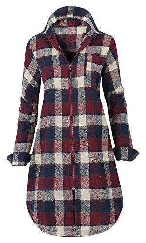 ililily Howels Damen lang Reißverschluss oben Hemd Flanell Schottenmuster Jacke leicht Jacke , Red Plaid (Duster Plaid)