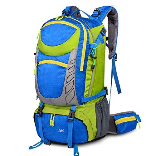 Große 50 Liter Reise Wandern Camping Rucksack Rucksack Urlaub Gepäck Tasche,Orange Blue