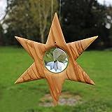 Stern Fensterdeko zum Aufhängen | Stern aus Olivenholz mit Rivoli Kristall | Fensterdeko aus Holz | Deko Sterne hängend groß