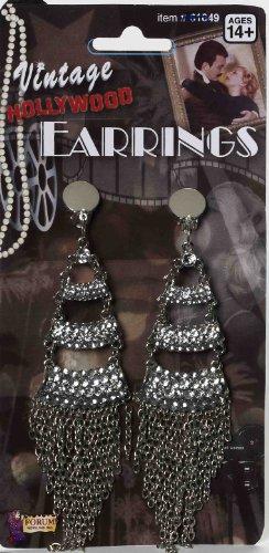 Bristol Novelty Forum Novelties Inc. Vintage Hollywood Three Level Rhinestone Adult Earrings Adult One-Size ()