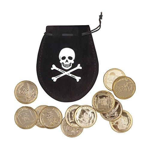 Münze Tasche Piraten (Boland 74300 Piratensäckchen mit 12 Goldmünzen, One)