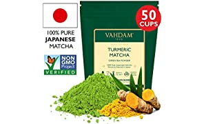 Turmeric + Matcha Green Tea Powder - Powerful SUPERFOODS Blend Rich with Curcumin - Pure Japanese Matcha Powder with Indian Turmeric Powder �� 137x Anti-OXIDANTS, Delicious Matcha Latte Powder, 100g