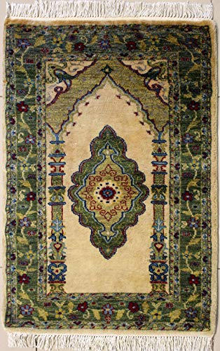 RugsTC 71 x 109 Bokhara Jaldar Area Rug with Wool Pile - Prayer Design Hand-Knotted in White,Green,Beige Colors | a 76 x 122 Rectangular Rug -