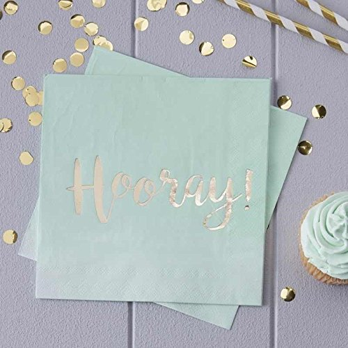 Pick and Mix - Mint & Gold Foiled Hooray Paper Napkins