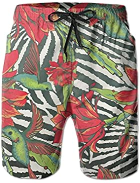 Zebra Red Flowers Hummingbirds Men's/Boys Casual Quick-Drying Bath Suits Elastic Waist Beach Pants with Pockets