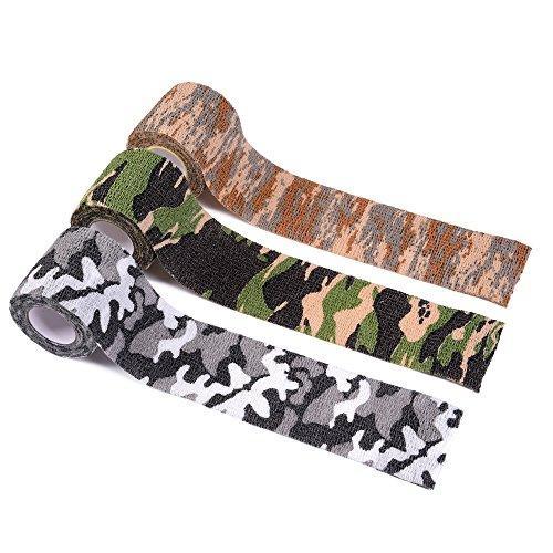 EAST-WEST Trading GmbH Outdoor Tarnband, Stealthtape, Elastikband, Allzweckband, Camouflage, selbsthaftend 5 cm x 5 m, 3er Set, für Outdoor, Jagd, Militär etc.