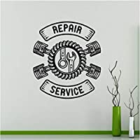 Dxyily Car Repair Service Wall Sticker Auto Car Repair Store Decoration Car Tire Service Removable Car Workshop Logo Wall Decal 57X64Cm
