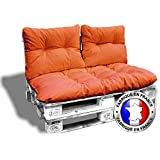 CALINUIT KIT Complet 3 Coussins 1 Assise + 2 Dossiers pour Canape Euro Palettes 120*80 cm Orange épaisseur 17 cm ! Le Moins Cher du Net!