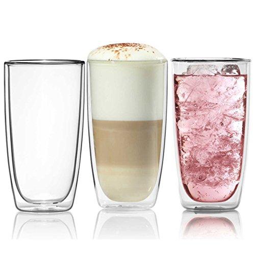 s Trinkglas 450ml Wasserglas Glas doppelwandig Latte Macchiato Longdrink-Gläser ()