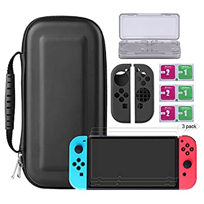 Bestico Nintendo Switch Kits, Switch Protection Accessories include Nintendo Switch Carrying Case /Game Card Case/3 Piece Clear HD Full Coverage switch Screen Protector/Joy-Con Silicon Case/Clean Cloth from Bestico