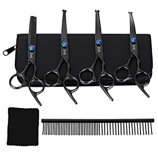 GHB Grooming Scissors Pet Grooming Scissors Set for Dogs with Rounded Tip 5-Piece