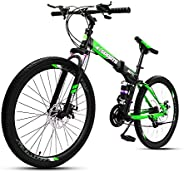 COOLBABY Mountain Bike 26 inch Folding Bikes with Iron mountain frame, Featuring 30-knife rim and 21 Speed Shi