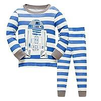 DAWILS Boys Spaceship Pyjamas Set Toddle Boys Space Rocket Sleepwear Kids 100% Cotton Nightwear Childrens Space Shuttle Pjs Long Sleeve 2 Pieces Clothes 2-3 Years Blue