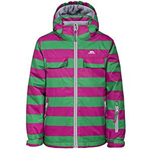 Trespass Motley, Hot Pink, 9/10, Waterproof Ski Jacket with removable Hood, Snow Catcher & Ski Pass Pocket Kids Unisex, Age 9-10, Pink