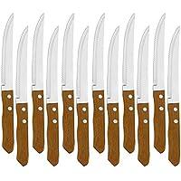 Juego de 12 Cuchillo de mesa con mango de madera natural, Cuchillo de Carne Acero Inoxidable - Hoja de Sierra