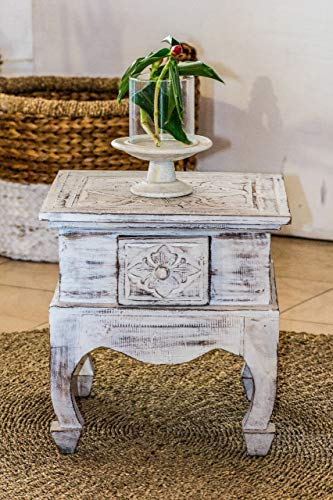 LEBENSwohnART Beistelltisch Maroc ca. 60cm White Wash Mahagoni Nachttisch Telefontisch Tisch -