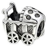 So Chic Schmuck - Charm Kinderwagen Sterling Silber 925 - Für Pandora, Trollbeads, Chamilia, Biagi-Schmuck Geeigneter Charms-Anhänger