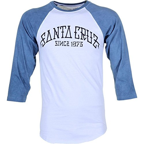 Santa Cruz Arch 3/4 Sleeve Baseball Tee Carbon Denim/White Medium (Herren Sleeve Baseball 3/4 Tee)