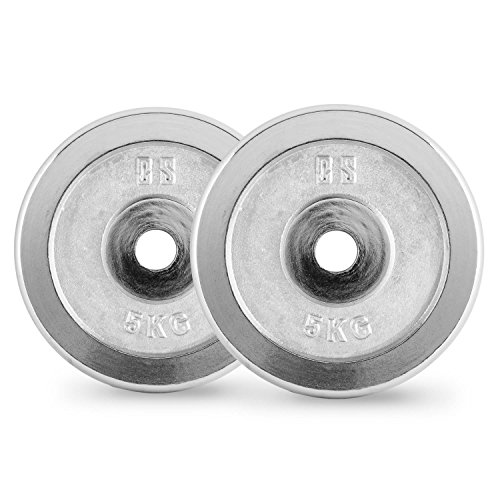 Capital-Sports-CP-5-Weight-Plates-Pair-for-Optimal-Home-Strenght-Training-Suitable-for-Long-and-Short-Dumbells-Robust-Production-of-Cast-Iron-30mm-5kg-Elegant-Polished-Chrome