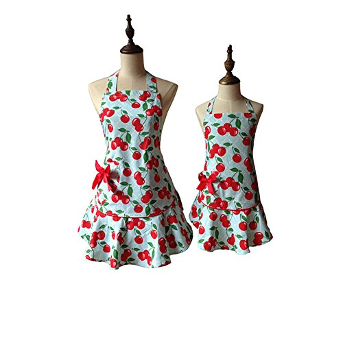 Red Floral Blue Courtney Cherry Kitchen Schürze Kid Girl Woman Avental Tablier Cuisine Pinafore Schürze Little Red Grill
