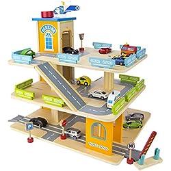 Aparcamiento de 3 niveles de Madera con ascensor, garaje con los coches
